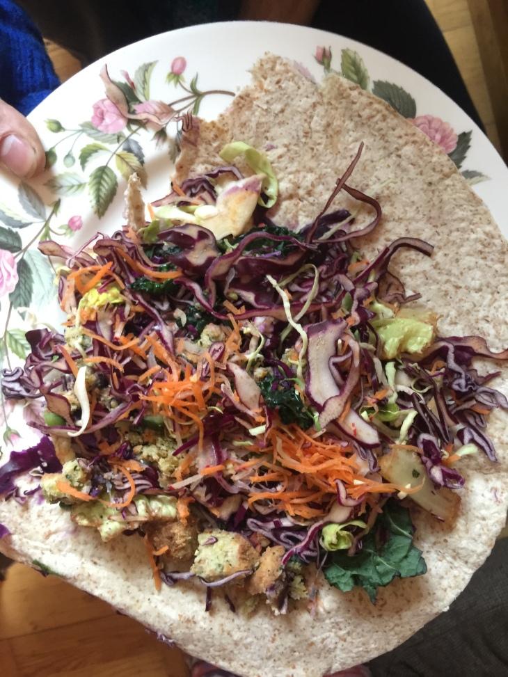 red cabbage falafel
